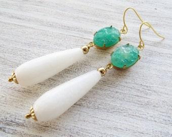 White jade earrings, drop earrings, faux green jade earrings, dangle earrings, teardrop earrings, italian jewelry, vintage style jewelry