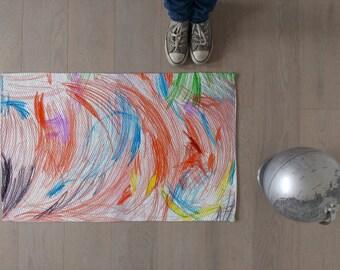 Kids rug / Children rug / Funny mat / Play mat / Modern decor / Kids room decor / Nursery decor / Unique home decor / Freehand style