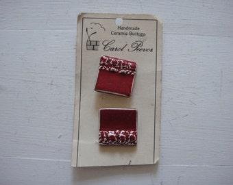 2 Medium Square Ceramic Buttons by Carol Peevor- 2.4cm - Vintage Buttons.