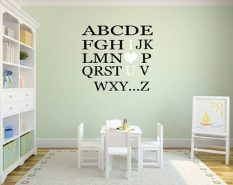 Alphabet Wall Decal For Nursery   Kids Wall Decal Vinyl ABC   Playroom Wall  Decal   Part 62
