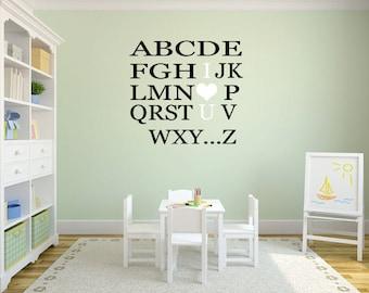Playroom Wall Decals Etsy - Vinyl wall decals alphabet