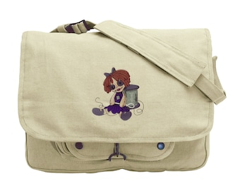 Such a Doll Embroidered Canvas Messenger Bag