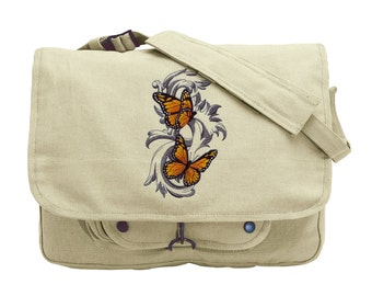 Monarch Butterflies in Flight Embroidered Canvas Messenger Bag