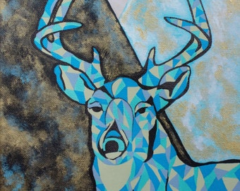 Giclee PRINT 5x7 Deer Animal STAG Painting Original Acrylic Antler Art Nature Wildlife Mountain Modern Contemporary Wall Art  to Hang