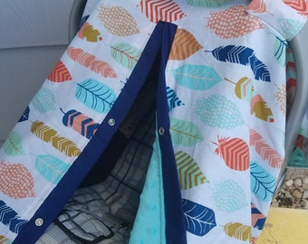Carseat Canopy Feather Minky SHOP SALE You Choose Minky Color car seat cover car seat canopy & Carseat Canopy Black Coral Mint Gold Dot Flower Minky Infant