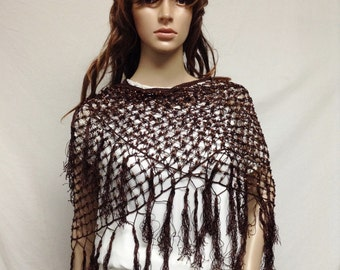 Brown Beaded Shawl, Knit Wrap,beaded shawl, Fringed wrap