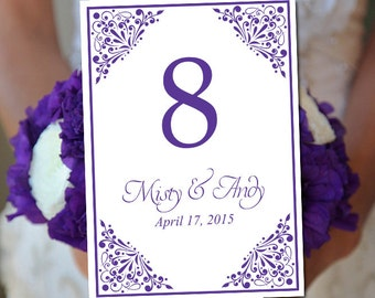 """Wedding Table Number Template - Regency Table Number - Wedding """"Madison"""" Printable Table Card - Instant Download Table Number Card"""