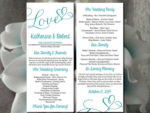 DIY Wedding Program Template - Heart Wedding Program Peacock Teal ...