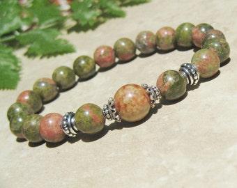 Woman's Unakite Fertilitly Bracelet,  Gemstones Energy Yoga Bracelet, Healing Bracelet, Wrist Mala Stretch Bracelet, Tibetan Jewelry