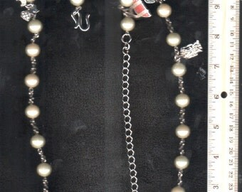 Necklace Chain Pearl Charm Vintage Curated GORGEOUS Jewelry  -GIFT QUALITY Please Check Our Three Photos And OurExcellent CustomerFeedback -