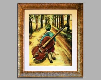 "Oil painting on canvas, ""The little musician"""