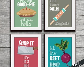 Good Pie, Rollin, Chop it, Beet Drop (Funny Kitchen Song Series) Set of 4 Art Prints (Featured in 19, 26, 13 and 9) Kitchen Art