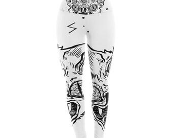"Anya Volk ""It's Bat"" Black White Yoga Leggings"