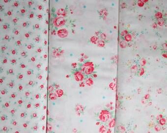 Lecien Flower Sugar Spring 2015, White Fat Quarter Bundle of 3, Japanese Fabric