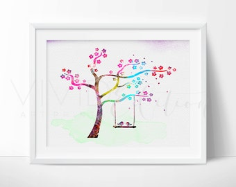 Love Birds Tree Print, Watercolor Art, Nature Nursery Art Print Wall Decor, Kids Bedroom Decor, Baby Room, Wall Art,  No. 03