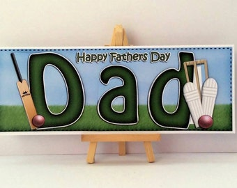 Dad Cricket Card * Dad Fathers Day Card * Cricket Card * Fathers Day Dad Card * Handmade Card * Fathers Day Card * Happy Fathers Day * Dad *