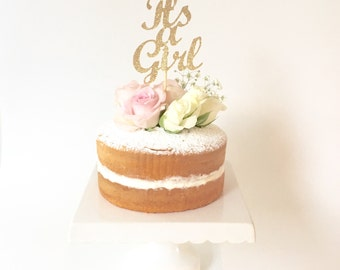It's a Girl Gold Glitter Cake Topper / Baby Shower Gold Cake Topper Decoration