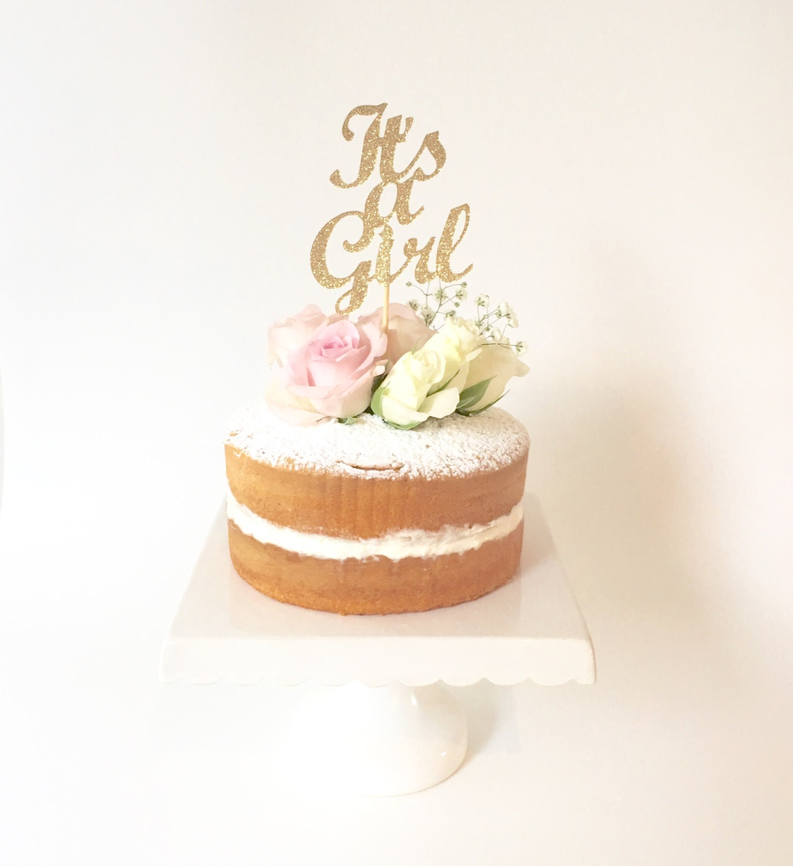 It s a Girl Gold Glitter Cake Topper Baby Shower Gold