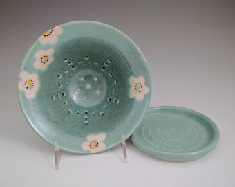 Sparkling Turquoise Berry Bowl and Saucer