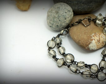Translucent white glass beads bracelet; Reworked Vintage necklace
