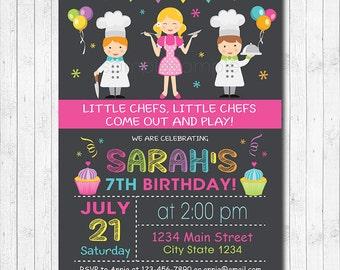 Chef Birthday Invitation, Chef Invitation, Chef Invite, Cook Invitation, Cooking Invite, Girls Invite, Digital printable Invitation