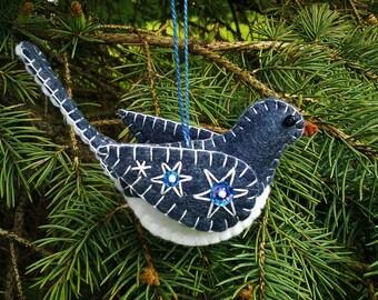 Wool Felt Bird Ornament/ Wool Junco Ornament/ Embroidered Junco/ Gray Bird Ornament/ Embroidered Bird Ornament/ Felt Ornament