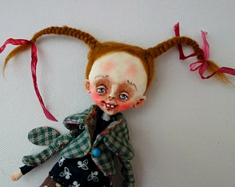 OOAK ART Doll- Brooch