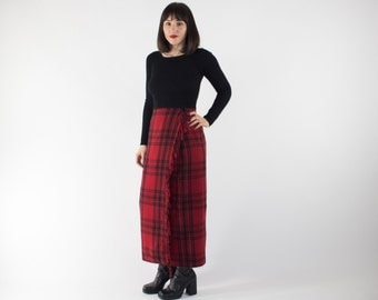 Vintage High Waisted Skirt | 90s Fringed Red and Black Tartan Long Skirt | Punk Goth Grunge Fashion