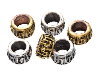 10 PC golden silver mixed color dreadlock metal beads braid cuff 8mm Hole D08