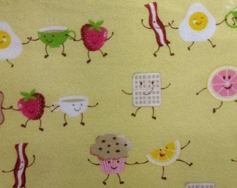 One Half Yard Piece  of  Fabric Material - Dancing Breakfast FLANNEL