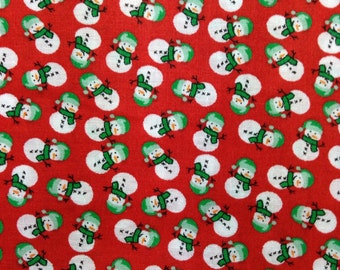 SALE - One half yard of fabric  - Packed Snowmen Red