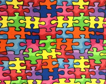 One Half Yard of Fabric Material - Rainbow Puzzle Pieces