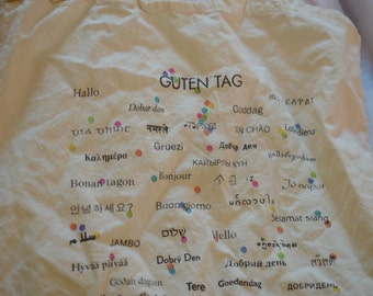 Vintage unique 'hello' in many languages small tote bag for teachers/education kids
