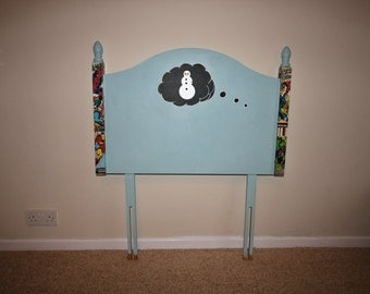 REDUCED Single Headboard Marvel Bed Chalkboard Thought Bubble Cloud Drawing Draw What You Dream Cupboard Blue Potters Paint Unique