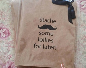 50 x Stache some Lollies for later! Kraft Brown Paper Lolly Bags