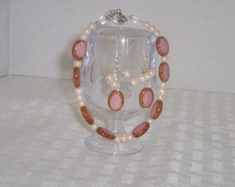 rose and brown bracelet and earring set