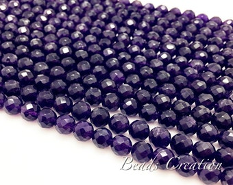 """75% off 8mm, 12mm, Natural Amethyst Faceted Round Beads, Purple Violet Lavender, Gemstone beads, A Grade, 15.5"""" FULL Strand"""