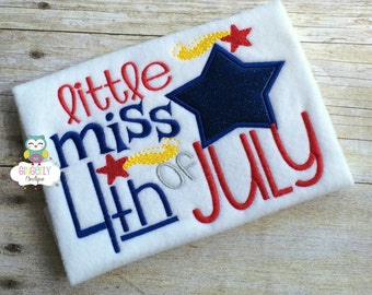 Little Miss 4th of July Patriotic/4th of July Shirt or Bodysuit, Independence Day, Fireworks, Girl 4th of July, 4th of July Parade