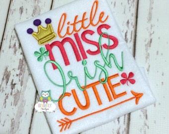 Little Miss Irish Cutie Shirt or Bodysuit, Girl St Patricks Day, Girl Shamrock Shirt, Girl St Patty's Day Shirt, Little miss Shirt