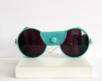 Round white sunglasses with blue leather wind ward - FW Made in Austria - New old Stock