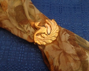 Vintage Gold Peacock Scarf Clip, Gold Peacock Scarf Ring, Scarf Jewelry