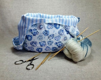 Romantic Project Bag with roses and hearts, blue white, stripes, knitting bag, yarn crafters bag