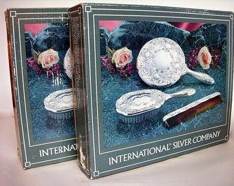 ONE BOXED SET Silver Plate Hairbrush Comb Hand Mirror