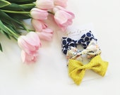 Large fabric bow clip Set of 3
