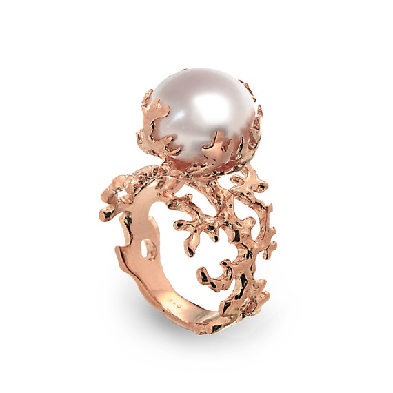 CORAL PEARL Rose Gold Ring Rose Gold Pearl Ring by AroshaTaglia