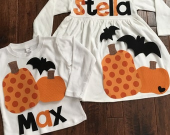 Brother Sister Sibling Set- Pumpkin and Bat  Applique Outfits- Perfect for Family Pictures