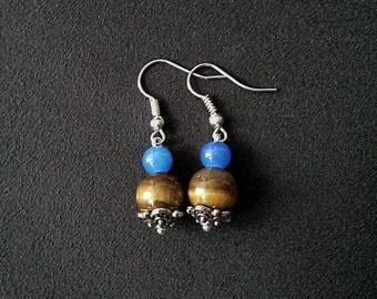 Tigers Eye & Blue Glass dangle earrings