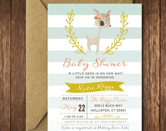 DeerBaby Shower Invitation , It's a Girl // Fawn Invitation // Girl // Salmon // Grey // Woodland // Gold Glitter // OXFORD COLLECTION