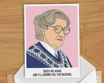 Mrs Doubtfire Greeting Card Robin Williams 1990s Illustration Woman Man Gift Pop Culture Portrait 90s American Comedy Columbus Funny Present