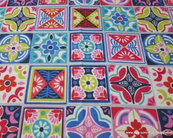 Flannel Fabric - Floral Tile Squares - 1 yard - 100% Cotton Flannel